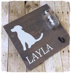 "Dog Leash/Treat Plaque $40 12"" x 12"""