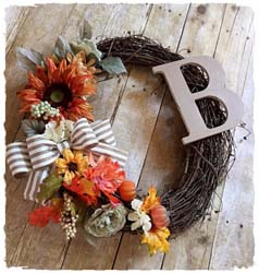 Fall Grapevine Wreath with Wooden Letter $45 18""