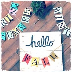 "Changeable Wooden Sign ""Hello Spring, Summer, Fall, Winter"" $40 16""x14.5"""