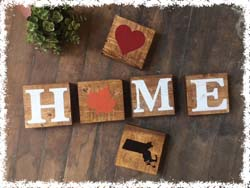 Set of H.O.M.E. Wooden Blocks $40 5.5""