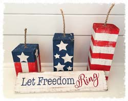 "Set of Wooden Firecrackers $40 10"", 8"", 6"""