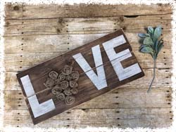 "Wooden ""LOVE"" Sign $45 24""x11"""