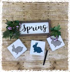 "Spring Sign and Double-Sided Blocks $45 13.5""x6"""