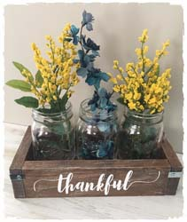 Mason Jar/Wooden Centerpiece $40 11.5""