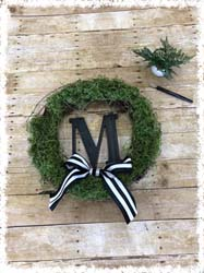 Moss Initial Grapevine Wreath $40 18""